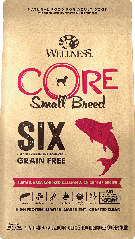 Wellness CORE SIX Salmon & Chickpeas Recipe Small Breed Dry Dog Food, 4-lb