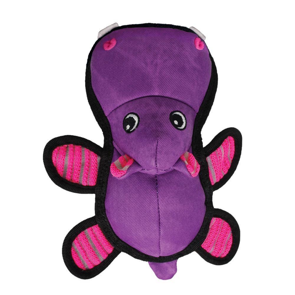 KONG Roughskinz Hippo Dog Toy, Purple, Medium/Large