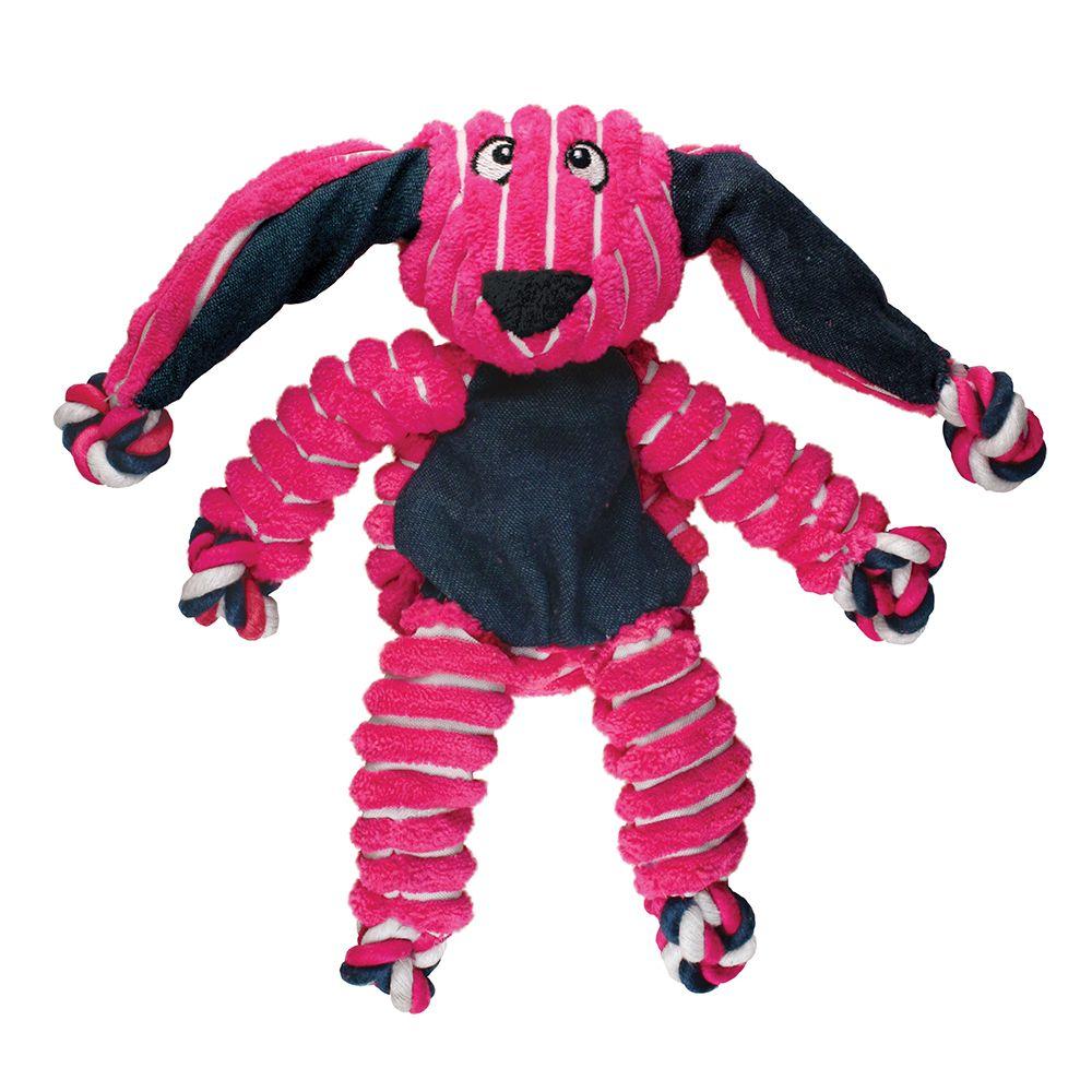 KONG Floppy Knots Bunny Dog Toy, Pink, Small/Medium