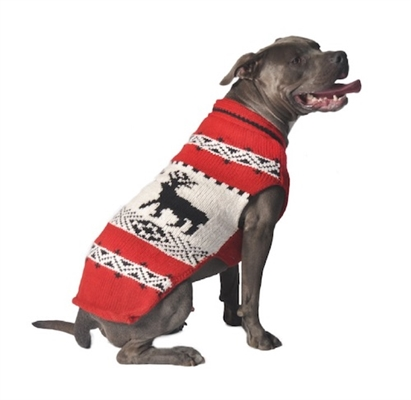 Chilly Dog Red Reindeer Shawl Dog Sweater, Medium