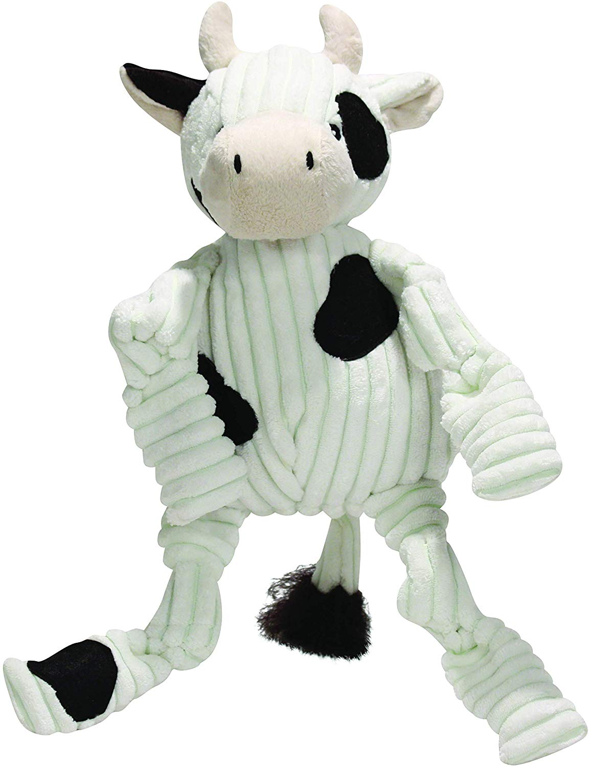 HuggleHounds Knottie Cow Dog Toy, Small