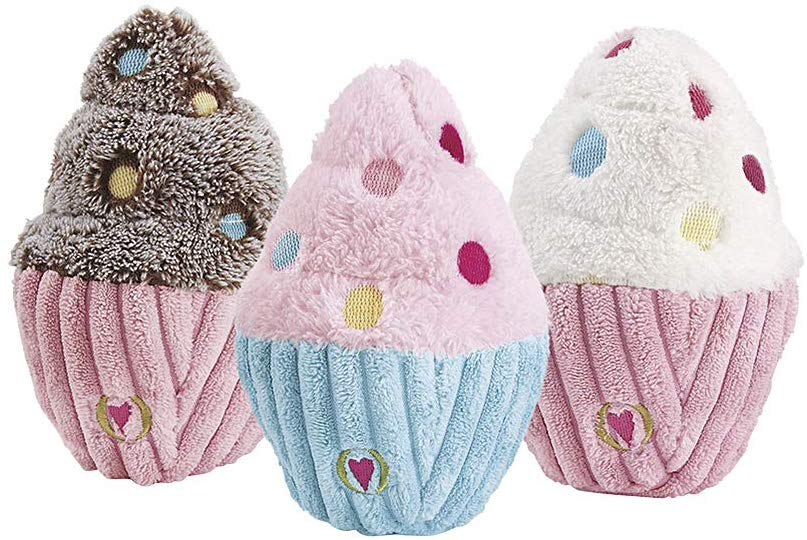 HuggleHounds Birthday Cupcake Dog Toy, Assorted Colors