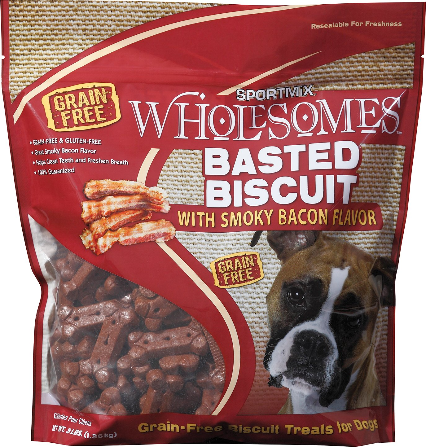 SPORTMiX Wholesomes Grain-Free Premium Basted Biscuit with Hickory Smoked Flavor Dog Treats (Size: 3-lb bag) Image