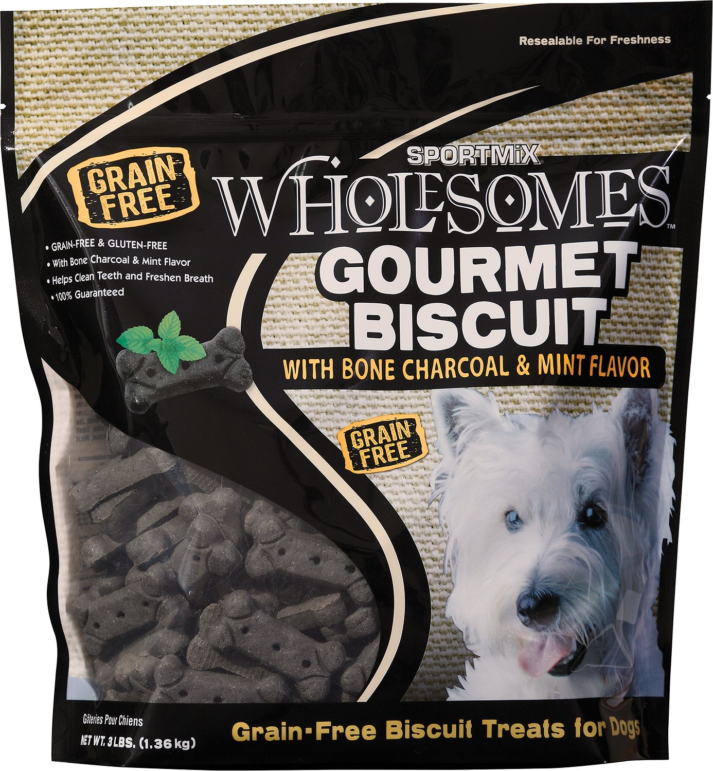 SPORTMiX Wholesomes Grain-Free Premium Medium Gourmet Biscuit with Natural Bone Charcoal & Mint Flavor Dog Treats Image