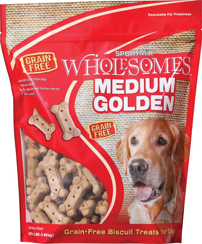 SPORTMiX Wholesomes Grain-Free Medium Golden Biscuit Dog Treats, 4-lb bag