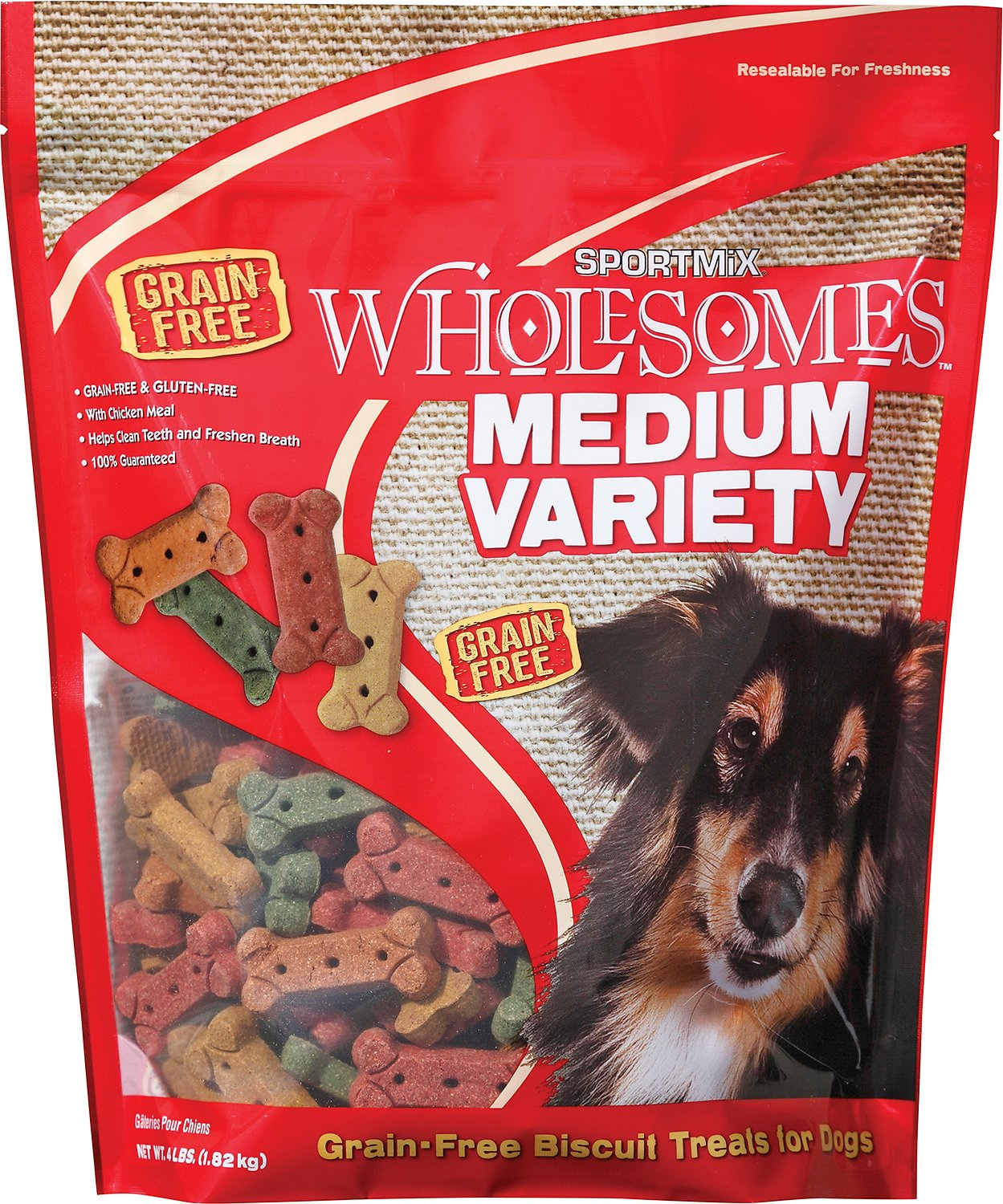 SPORTMiX Wholesomes Grain-Free Medium Variety Biscuit Dog Treats, 4-lb bag Image