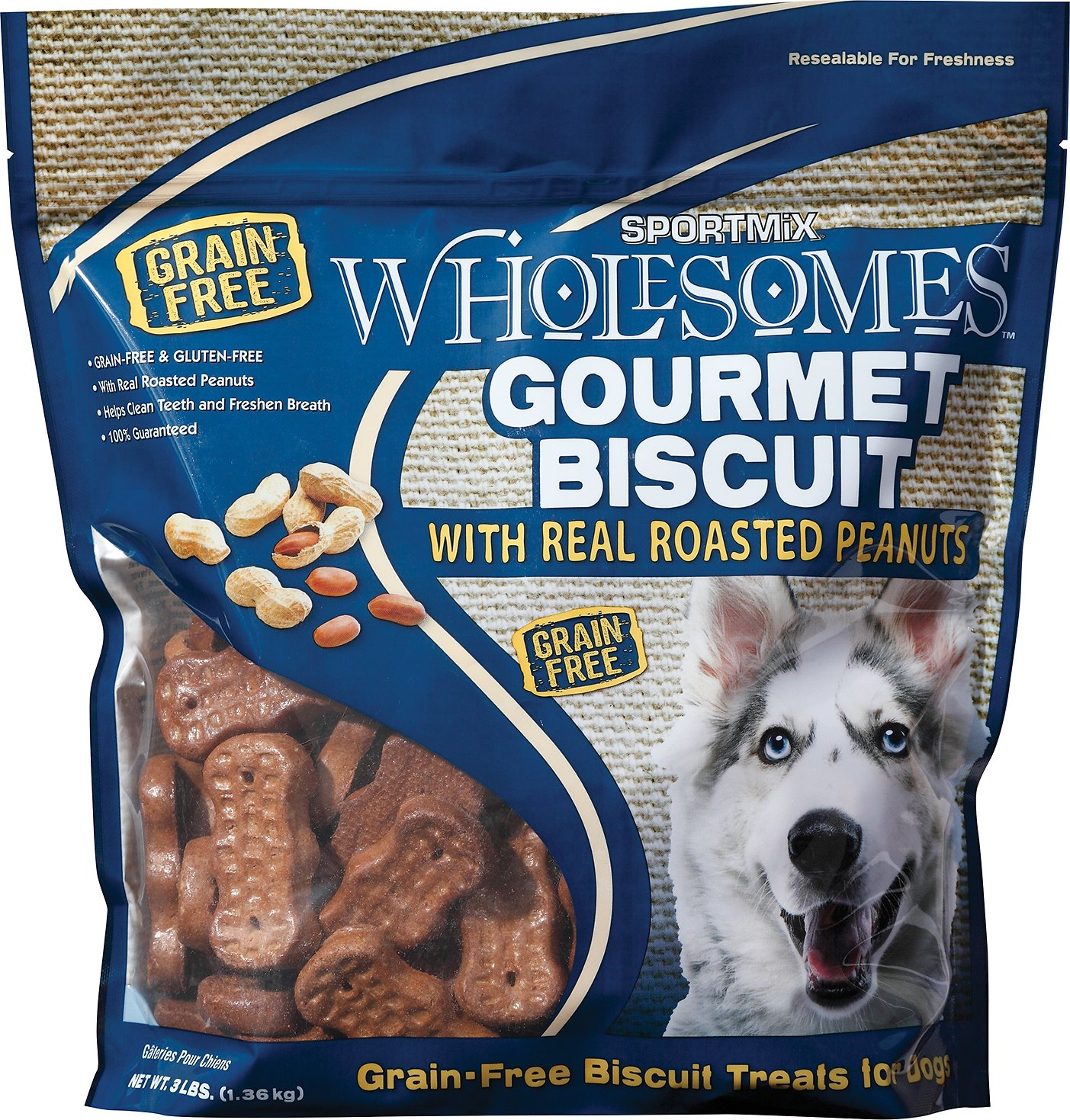 SPORTMiX Wholesomes Grain-Free Premium Gourmet Biscuit with Roasted Peanuts Dog Treats, 3-lb bag (Size: 3-lb bag) Image