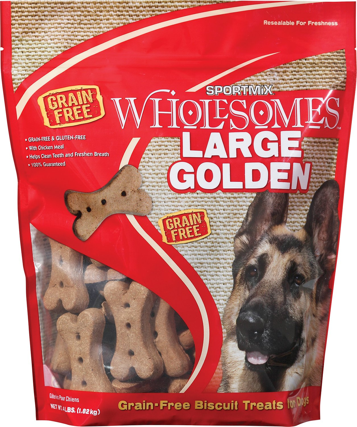 SPORTMiX Wholesomes Grain-Free Large Golden Biscuit Dog Treats (Size: 4-lb bag) Image