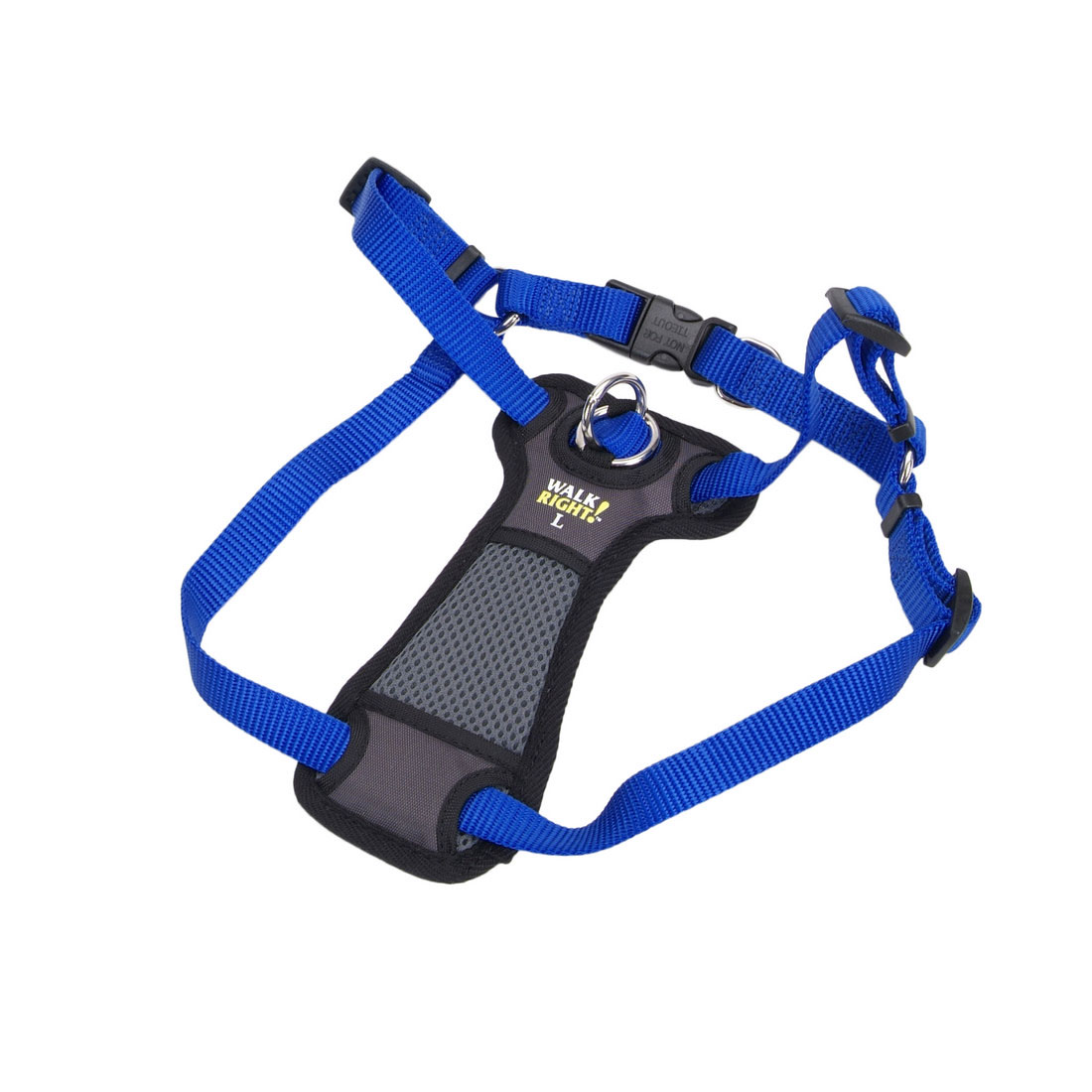 Coastal Walk Right! Front-Connect Padded Dog Harness, Blue, 20-30-in