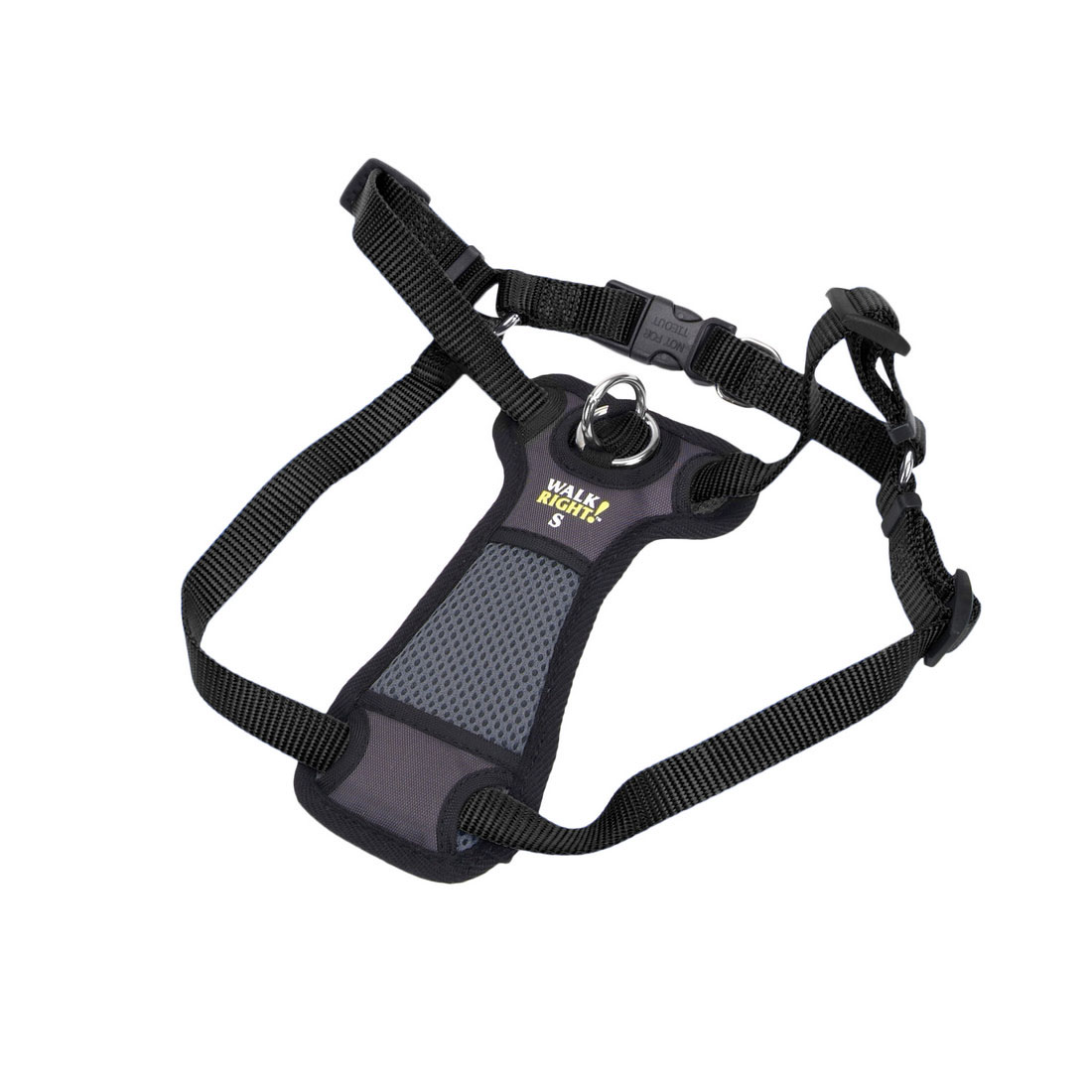 Coastal Walk Right! Front-Connect Padded Dog Harness, Black, 16-28-in