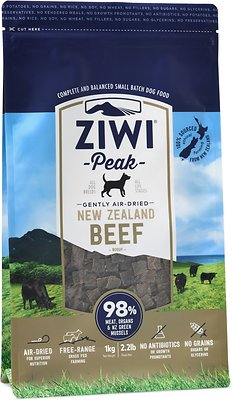 Ziwi Peak Dog Beef Recipe Grain-Free Air-Dried Dog Food, 2.2-lb bag