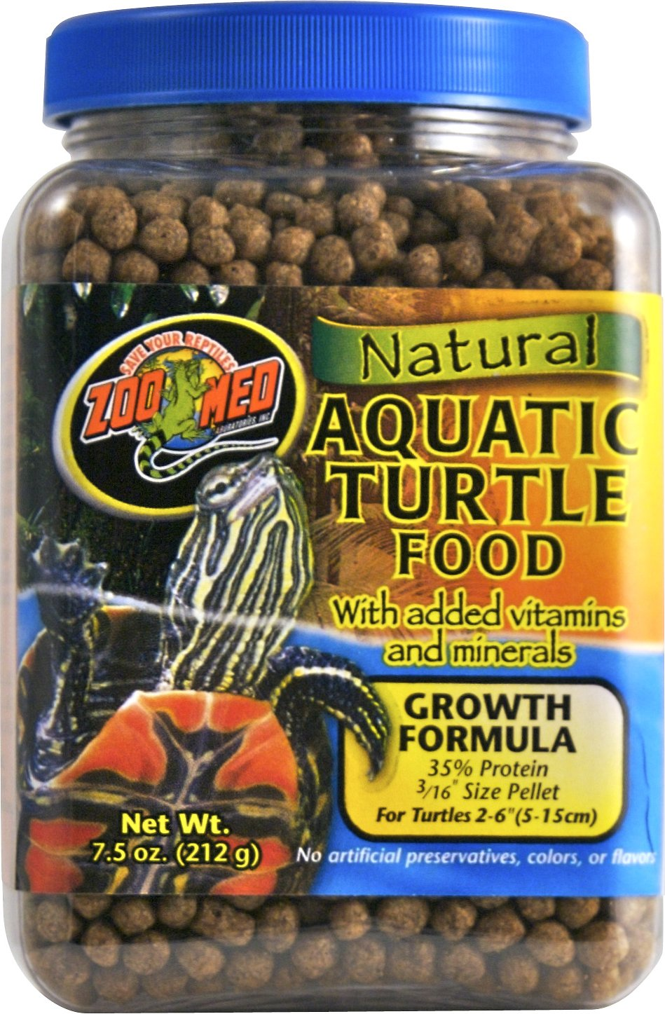 Zoo Med Natural Aquatic Growth Formuia Turtle Food, 7.5-oz jar