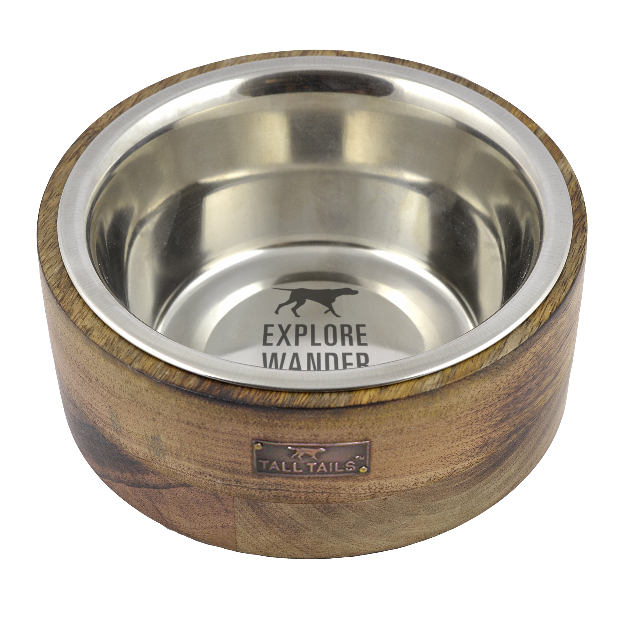 Tall Tails Wood Designer Stainless Steel Dog Bowl, 3-cup