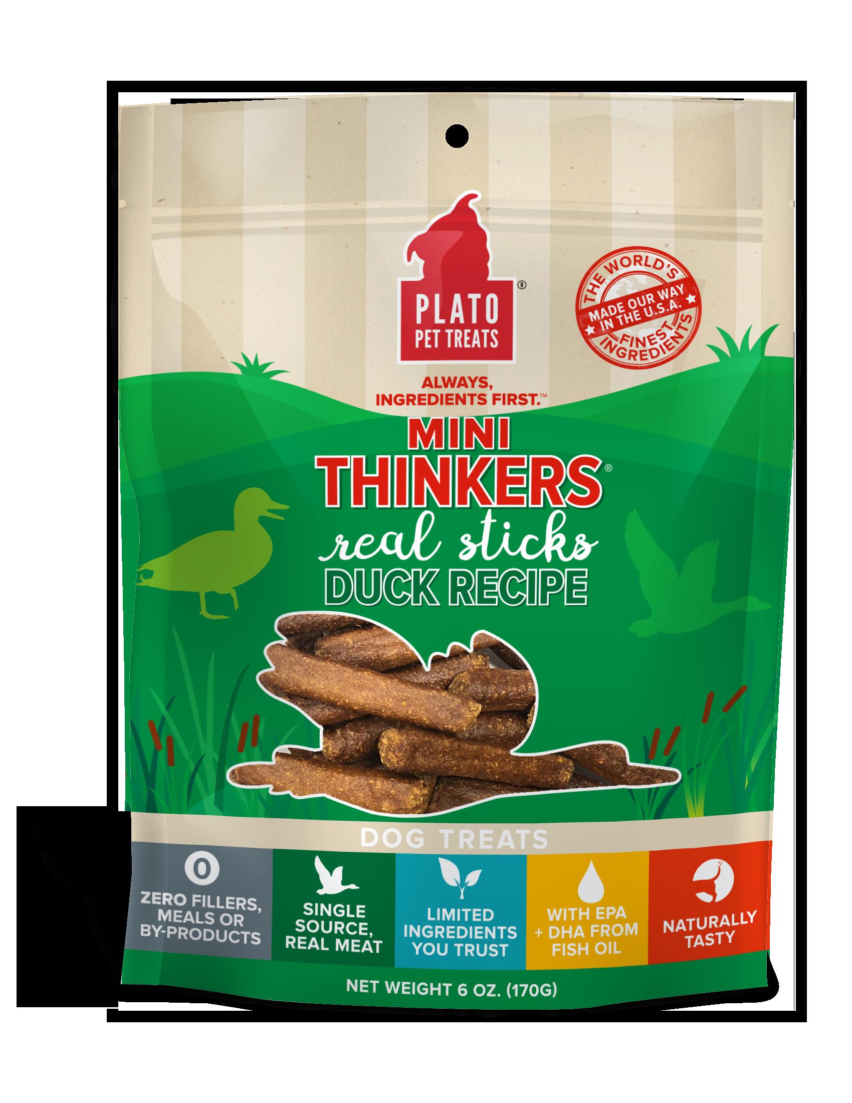 Plato Mini Thinkers Duck Meat Sticks Dog Treats, 6-oz bag