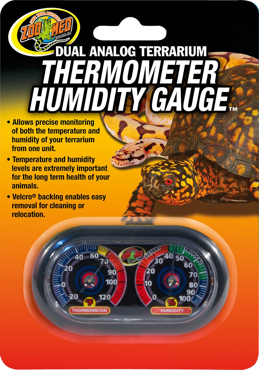 Zoo Med Dual Analog Thermometer and Humidity Gauge Image