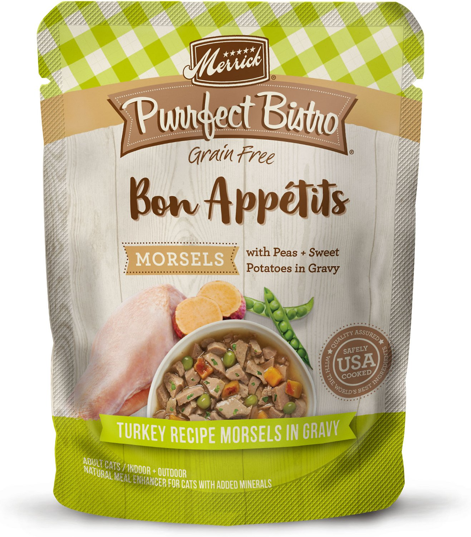 Merrick Purrfect Bistro Bon Appetits Grain-Free Turkey Recipe Morsels in Gravy Adult Cat Food Pouches, 3-oz