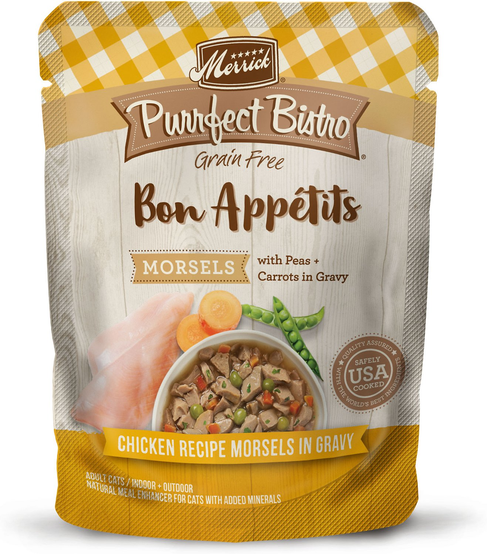 Merrick Purrfect Bistro Bon Appetits Grain-Free Chicken Recipe Morsels in Gravy Adult Cat Food Pouches, 3-oz