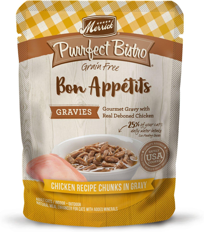 Merrick Purrfect Bistro Bon Appetits Grain-Free Chicken Recipe Chunks in Gravy Adult Cat Food Pouches, 3-oz