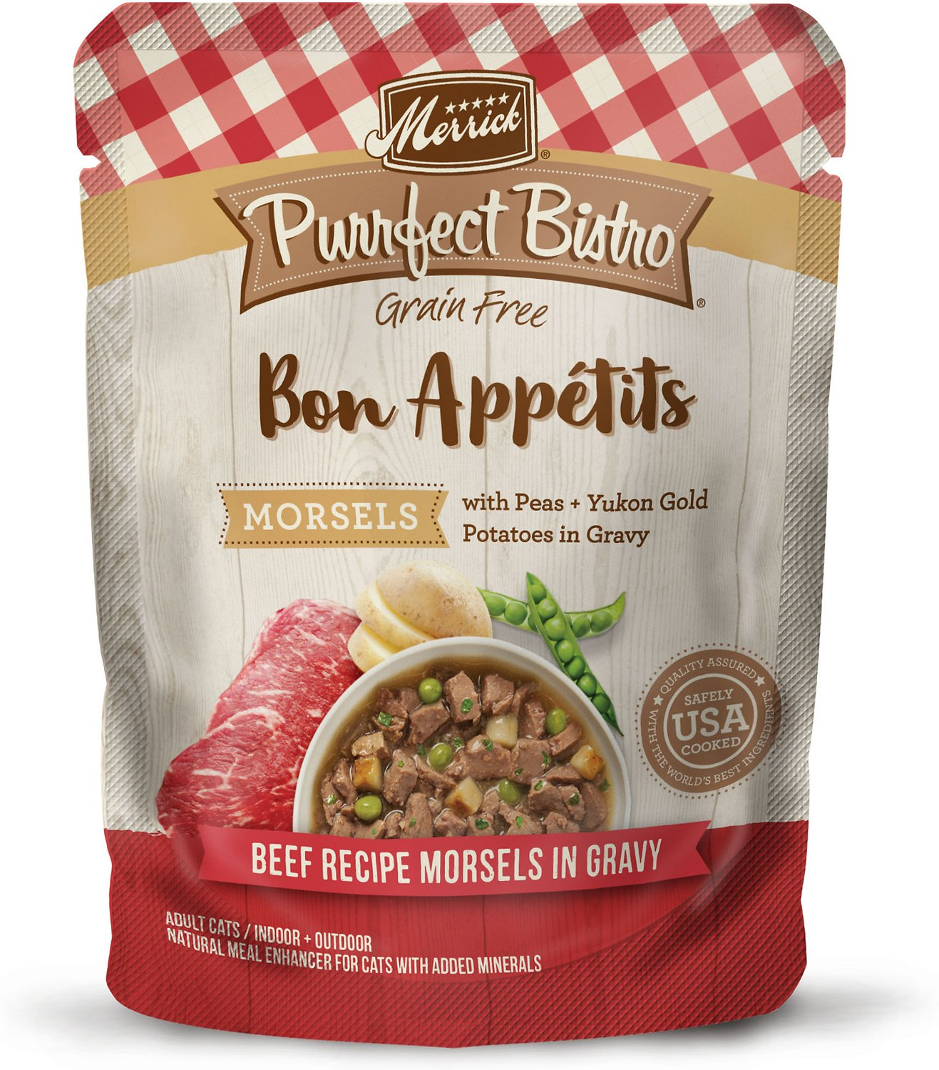 Merrick Purrfect Bistro Bon Appetits Grain-Free Beef Recipe Morsels in Gravy Adult Cat Food Pouches, 3-oz