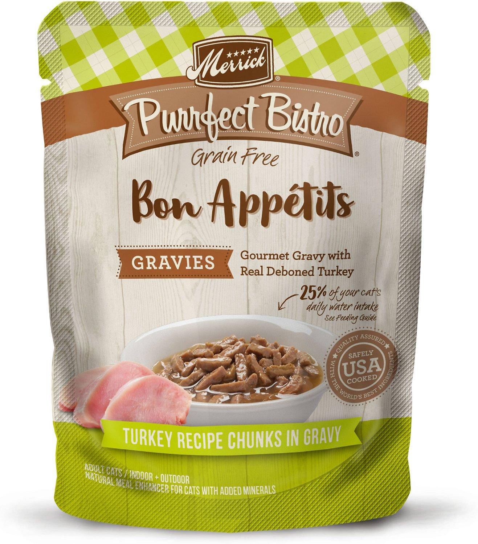 Merrick Purrfect Bistro Bon Appetits Grain-Free Turkey Recipe Chunks in Gravy Adult Cat Food Pouches, 3-oz, case of 24