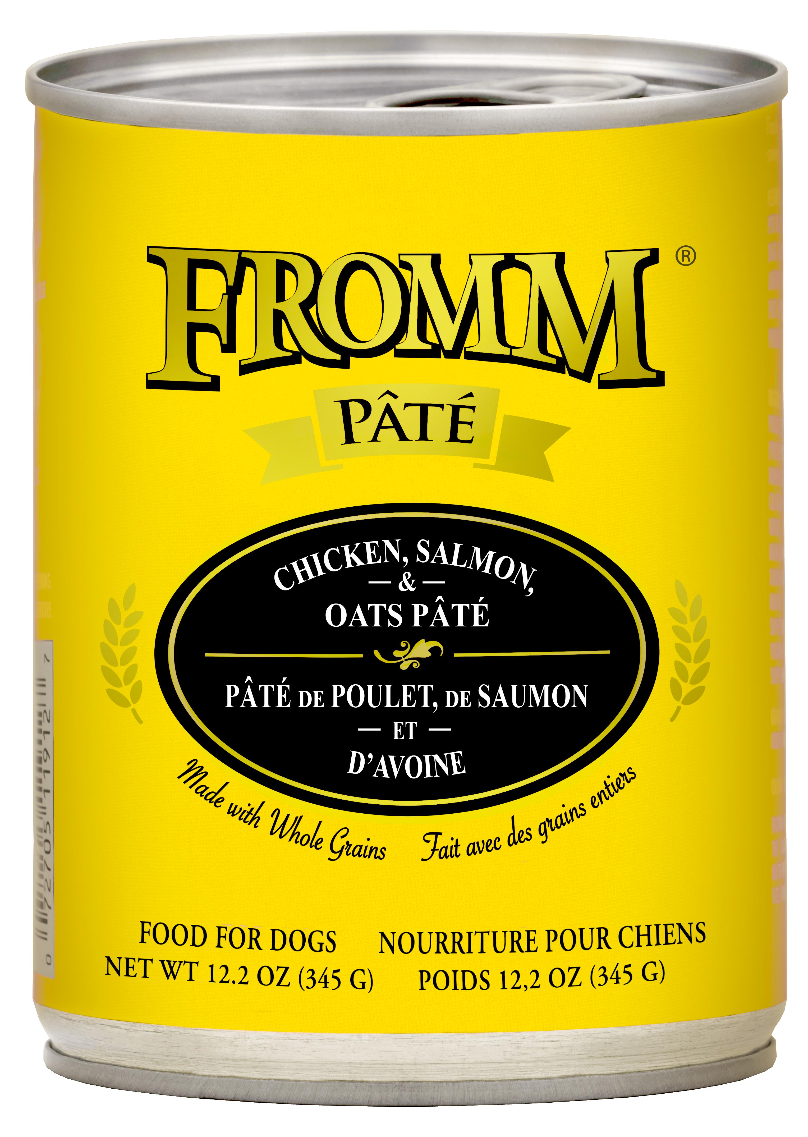 Fromm Chicken, Salmon & Oats Pate Canned Dog Food, 12.2-oz