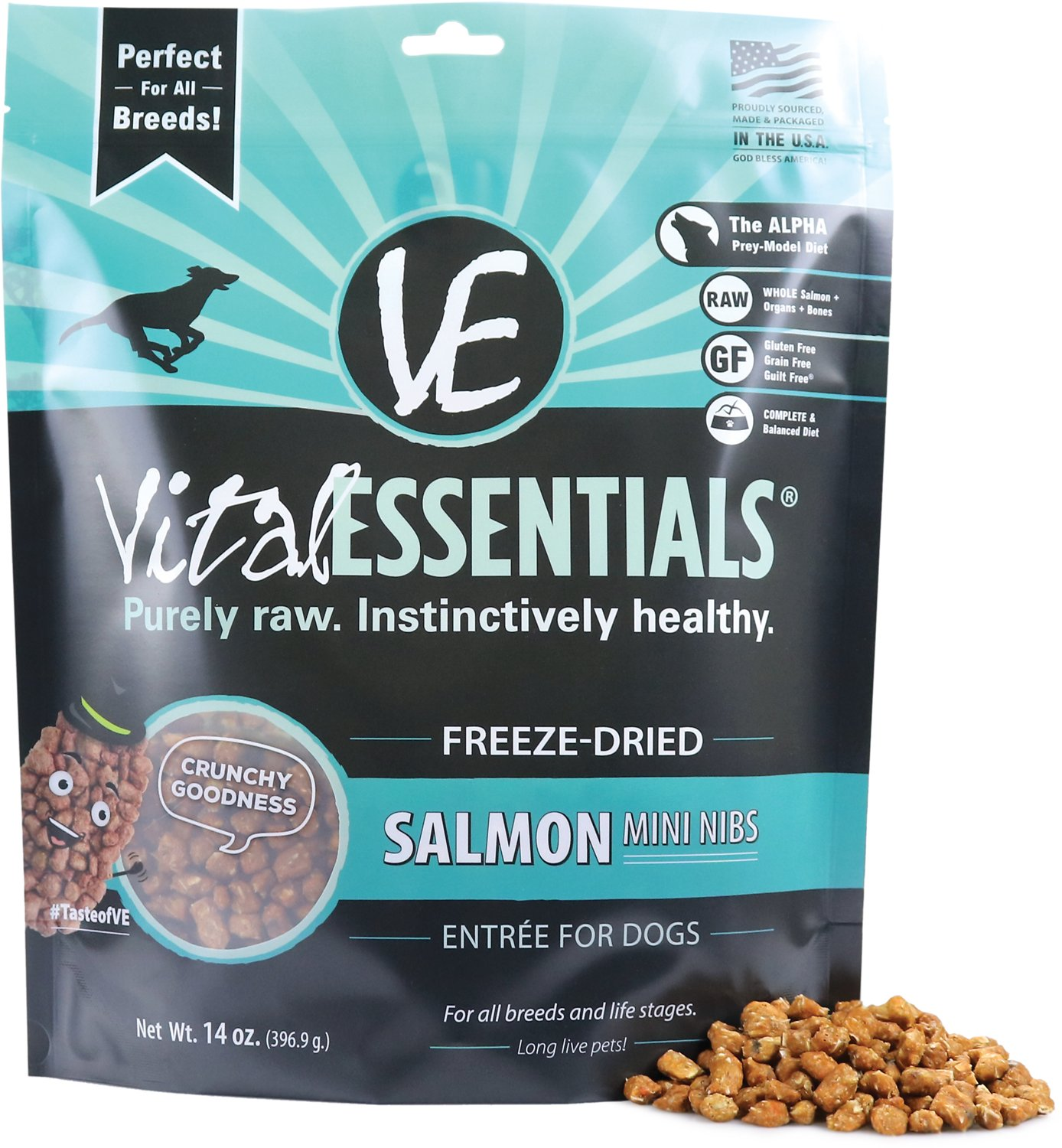 Vital Essentials Salmon Entree Mini Nibs Grain-Free Freeze-Dried Dog Food, 14-oz