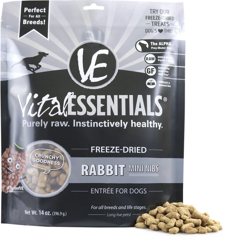 Vital Essentials Rabbit Entree Mini Nibs Grain-Free Freeze-Dried Dog Food, 14-oz