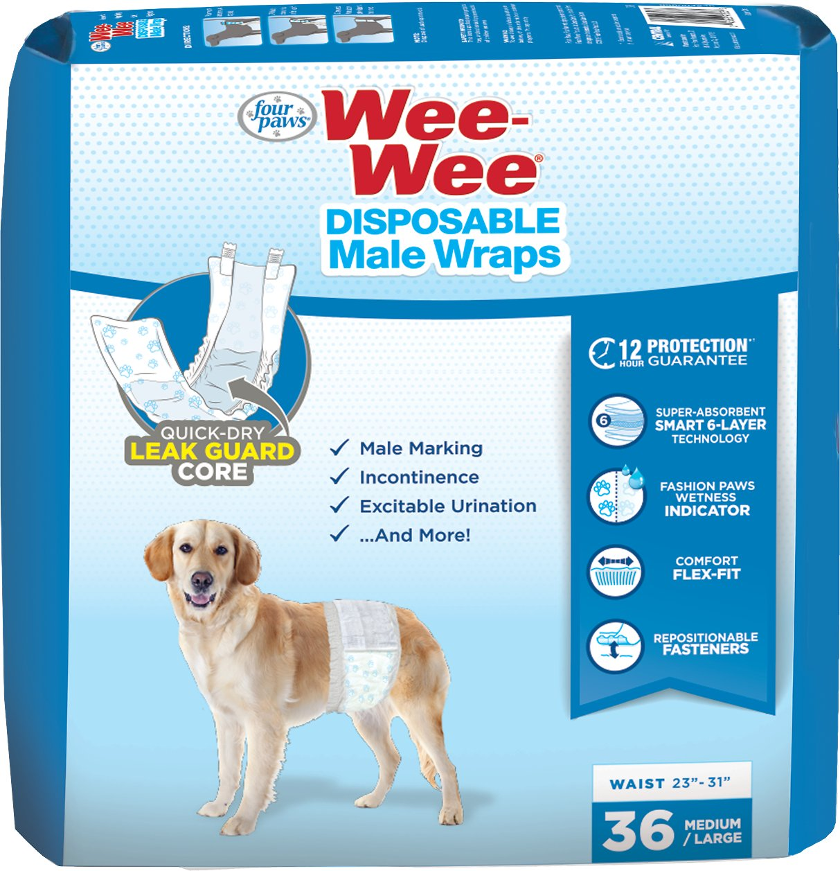 Wee-Wee Disposable Male Dog Wraps, Medium/Large, 36-count