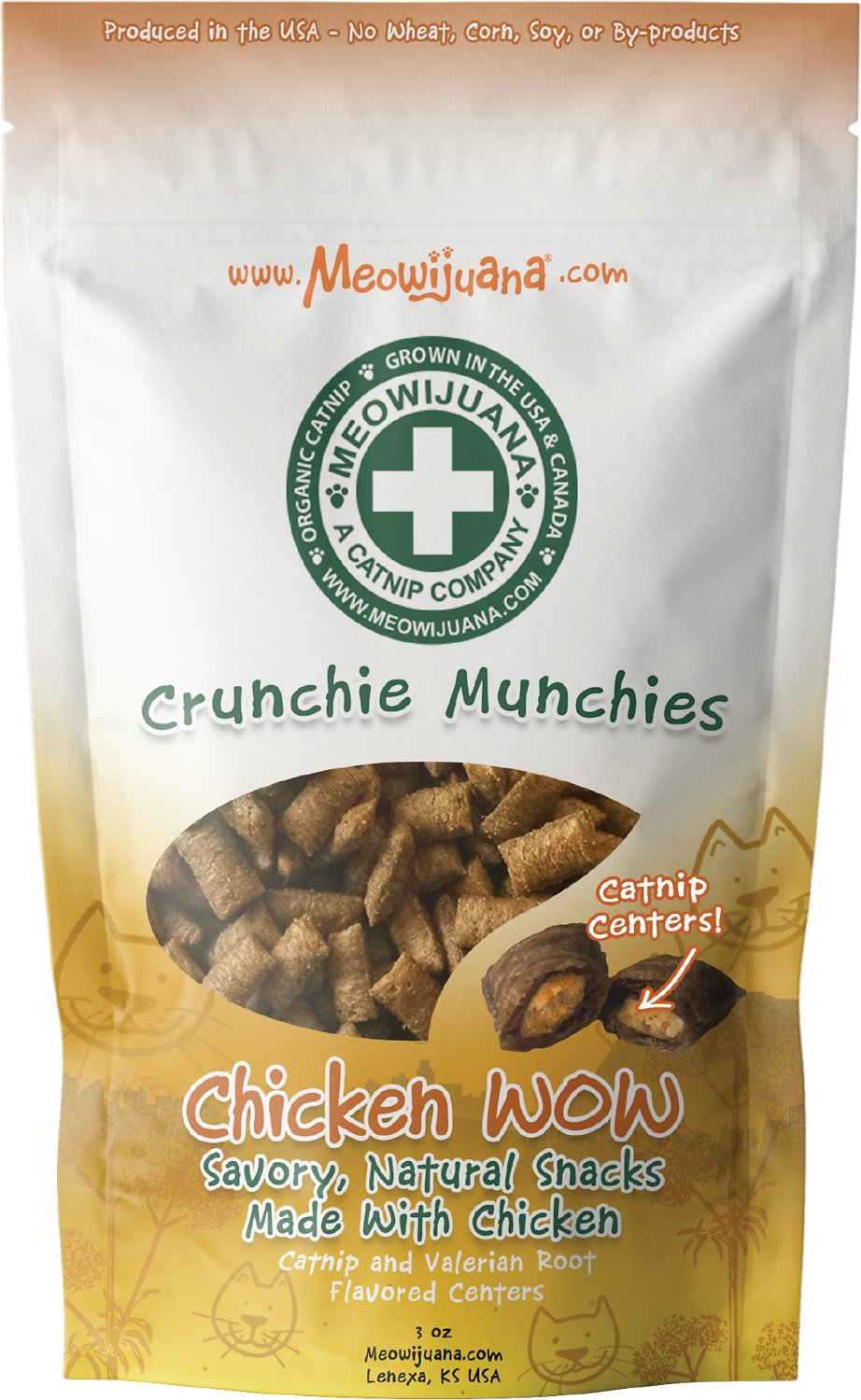 Meowijuana Crunchie Munchie Chicken Cat Treat, 3-oz