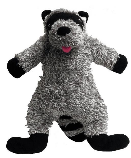 fabdog Fluffy Plush Dog Toy, Raccoon, Large