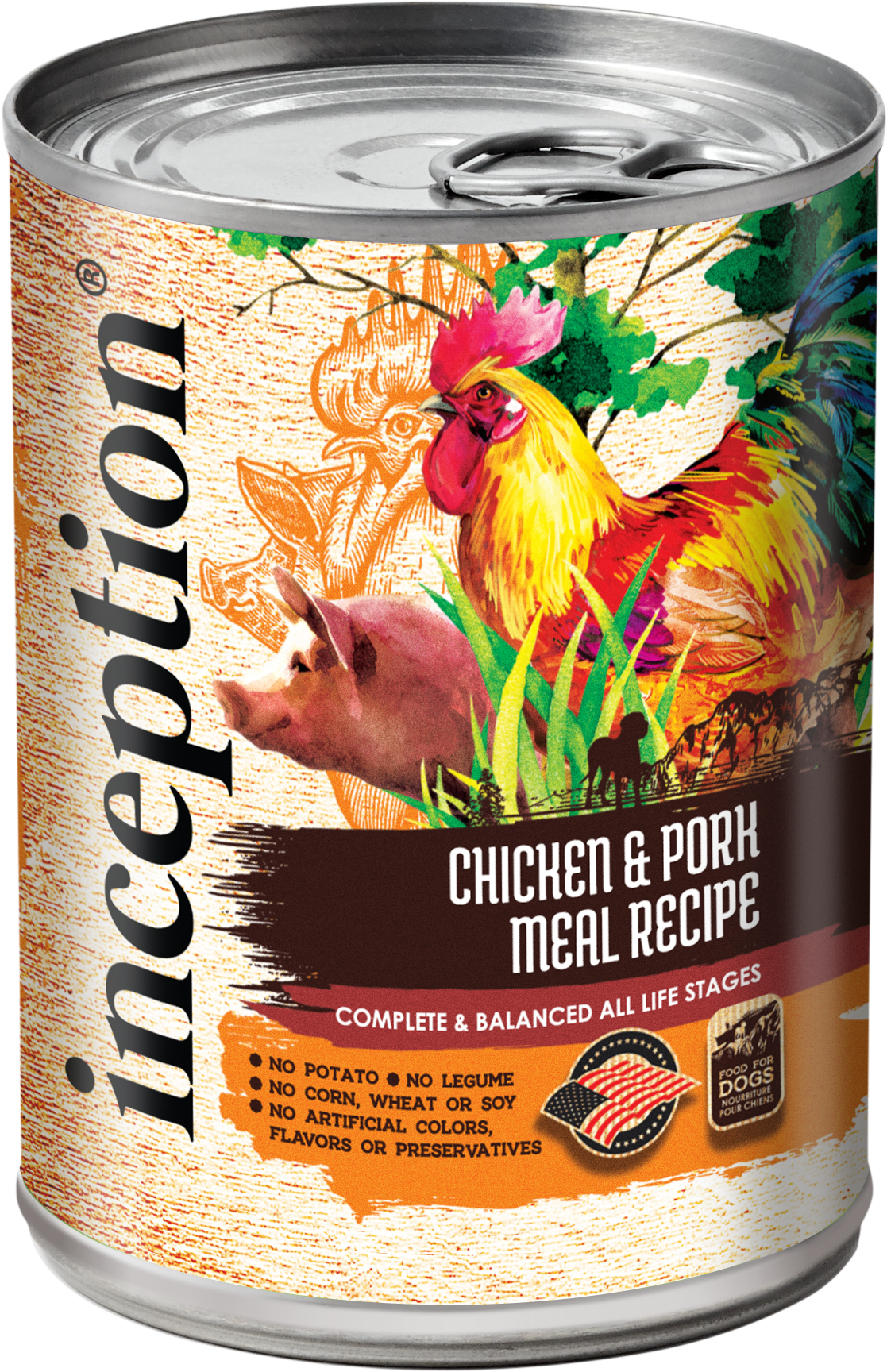 Inception Chicken & Pork Meal Recipe Wet Dog Food, 13-oz