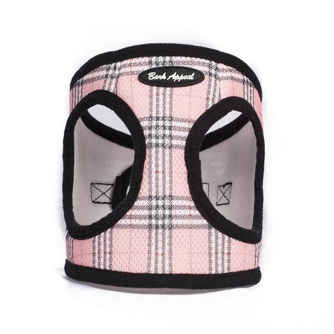 Bark Appeal Mesh EZ Wrap Step In Dog Harness, Pink Plaid Image