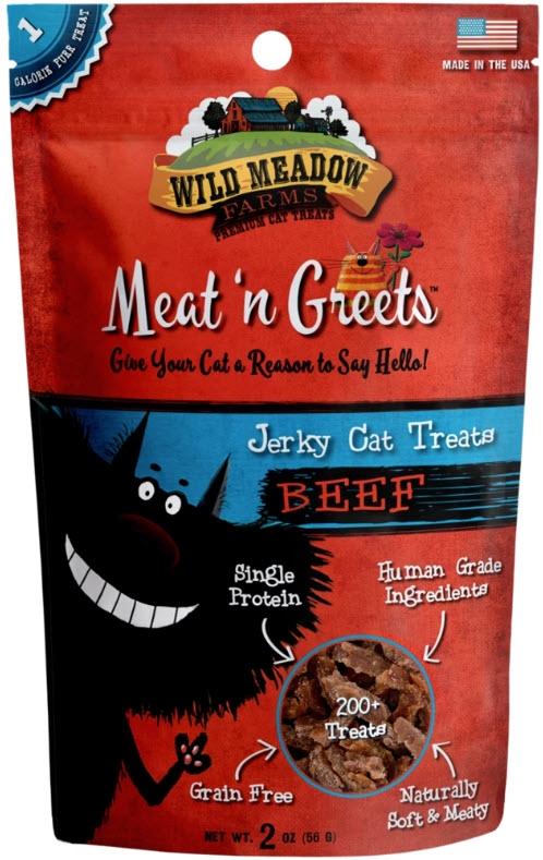 Wild Meadow Farms Meat n' Greets Beef Jerky Cat Treats, 2-oz
