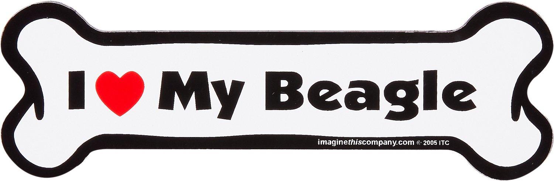"Imagine This Company ""I Love My Beagle"" Bone Shape Magnet"