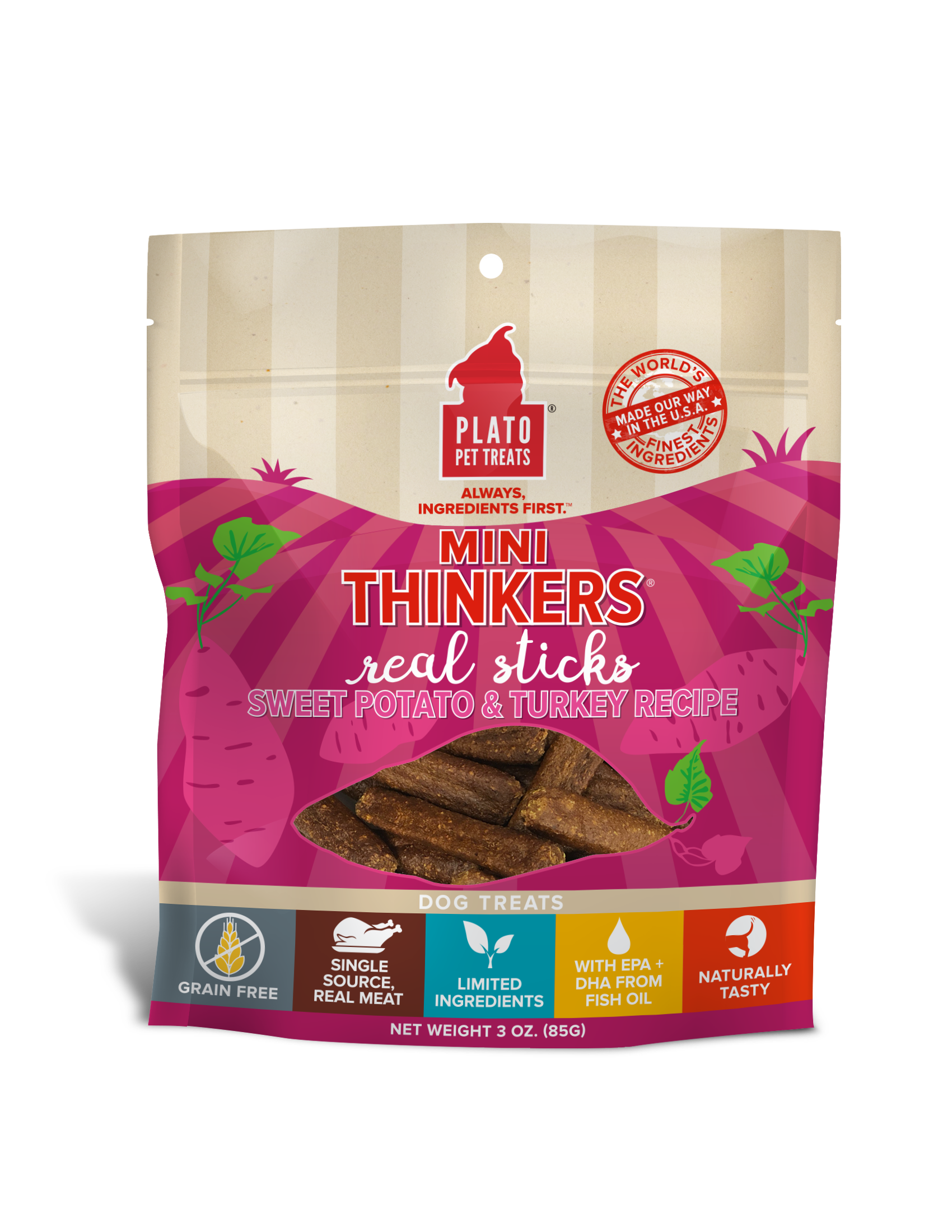 Plato Mini Thinkers Sweet Potato & Turkey Meat Stick Dog Treats, 3-oz