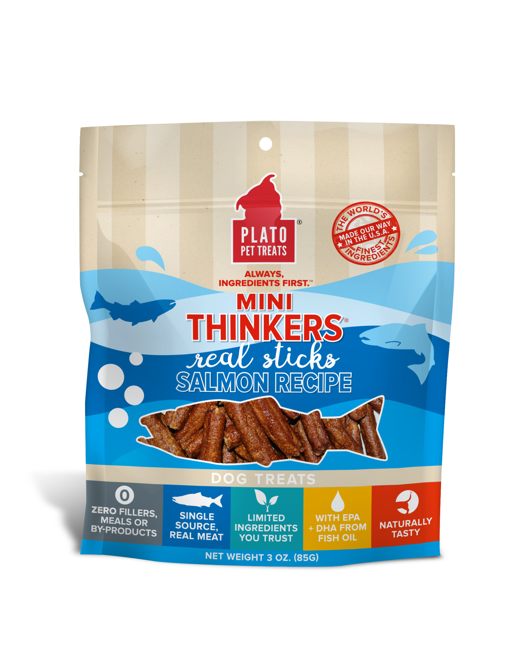 Plato Mini Thinkers Salmon Meat Stick Dog Treats, 3-oz