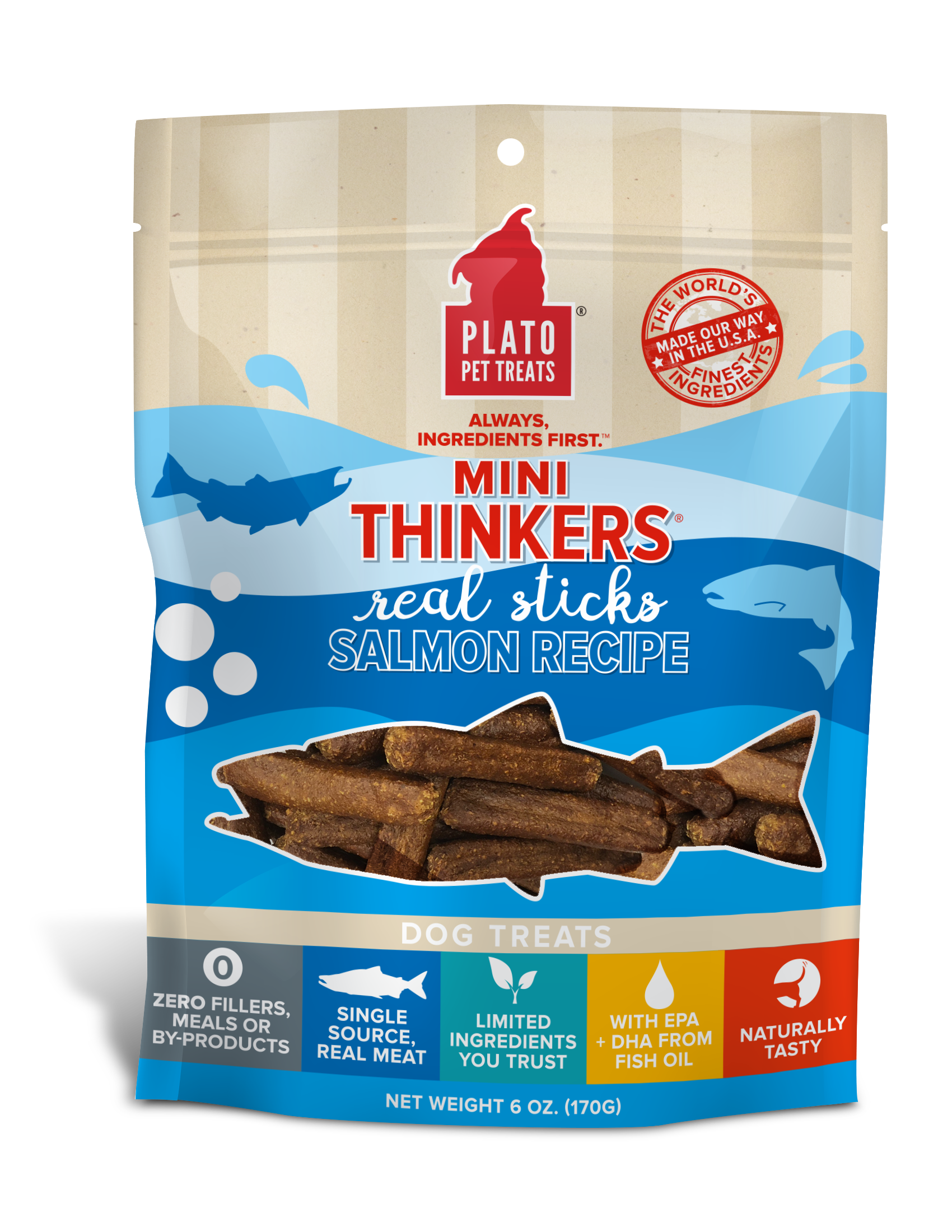 Plato Mini Thinkers Salmon Meat Stick Dog Treats, 6-oz