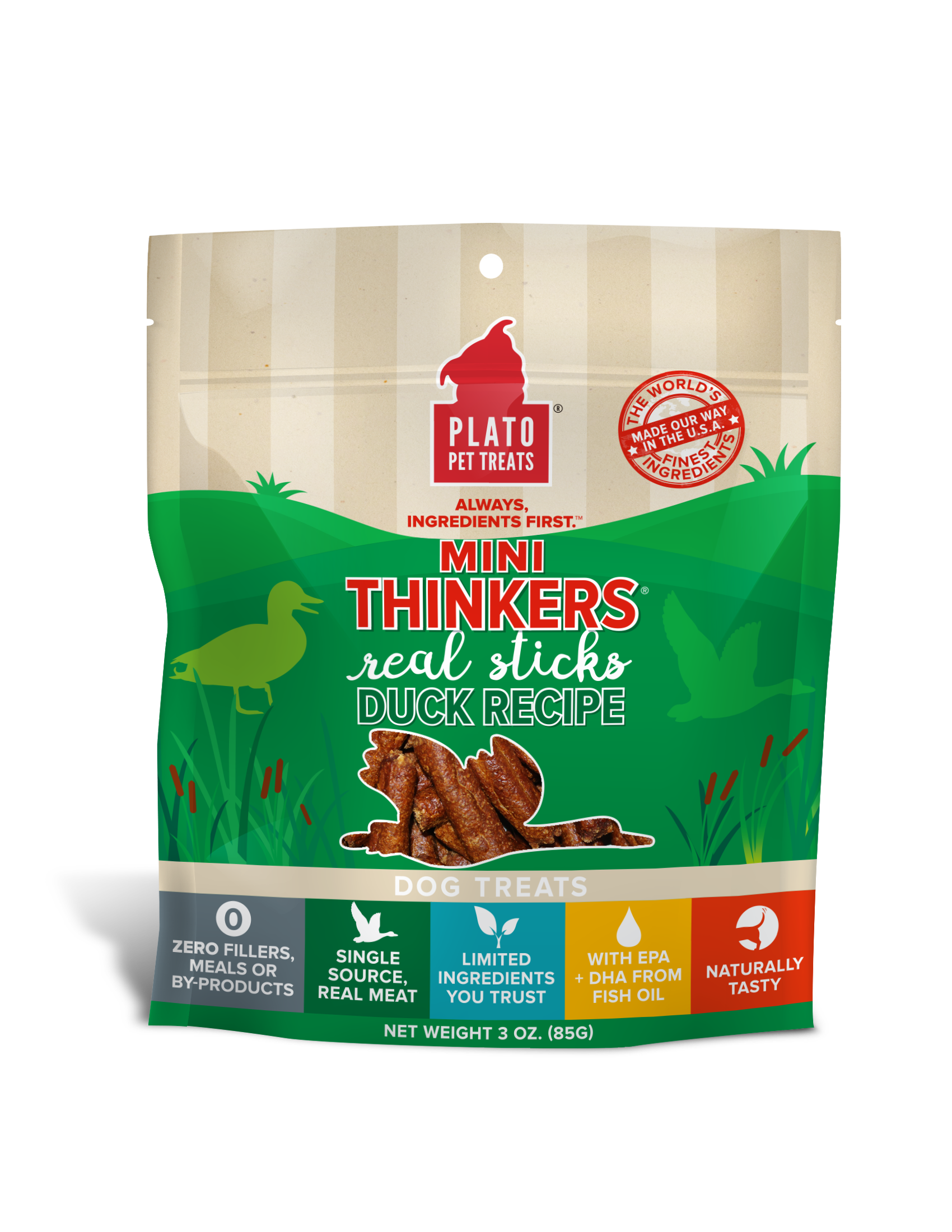 Plato Mini Thinkers Duck Meat Stick Dog Treats, 3-oz