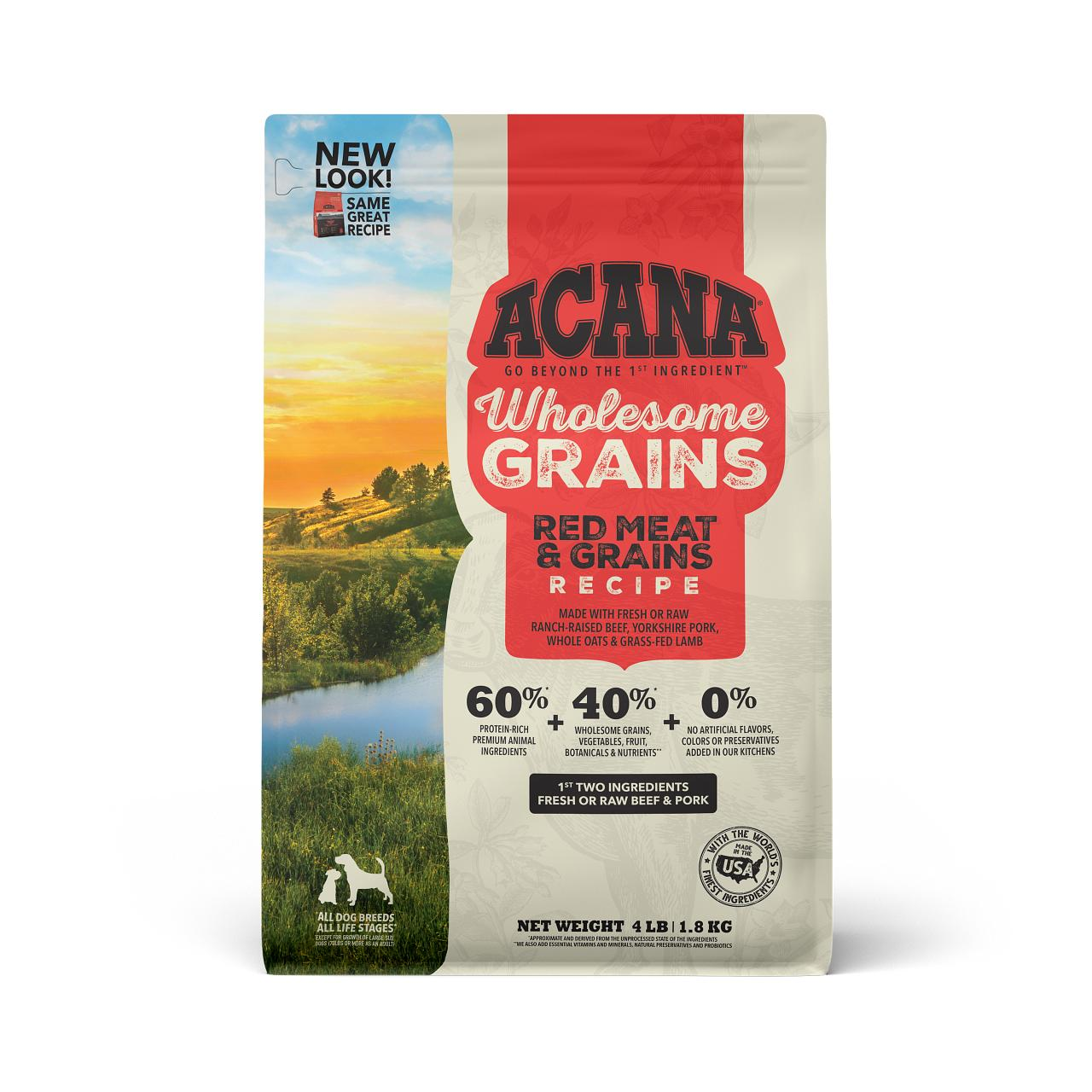 ACANA Wholesome Grains Red Meat & Grains Dry Dog Food, 11.5-lb