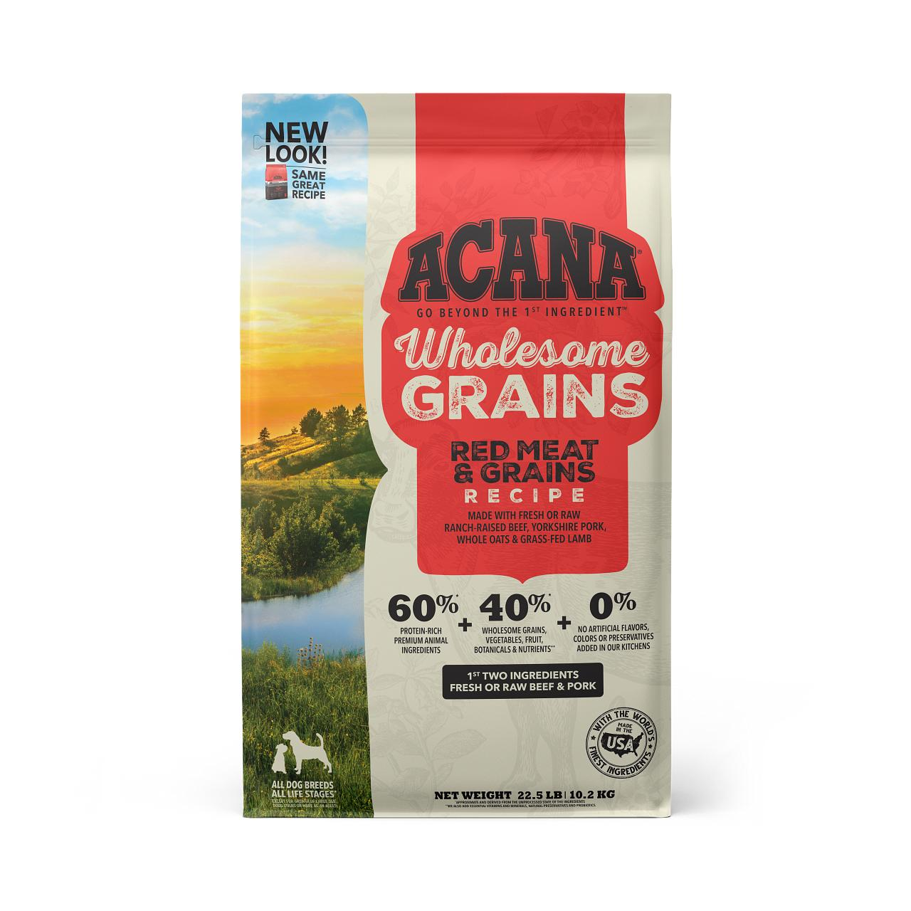 ACANA Wholesome Grains Red Meat & Grains Dry Dog Food, 22.5-lb