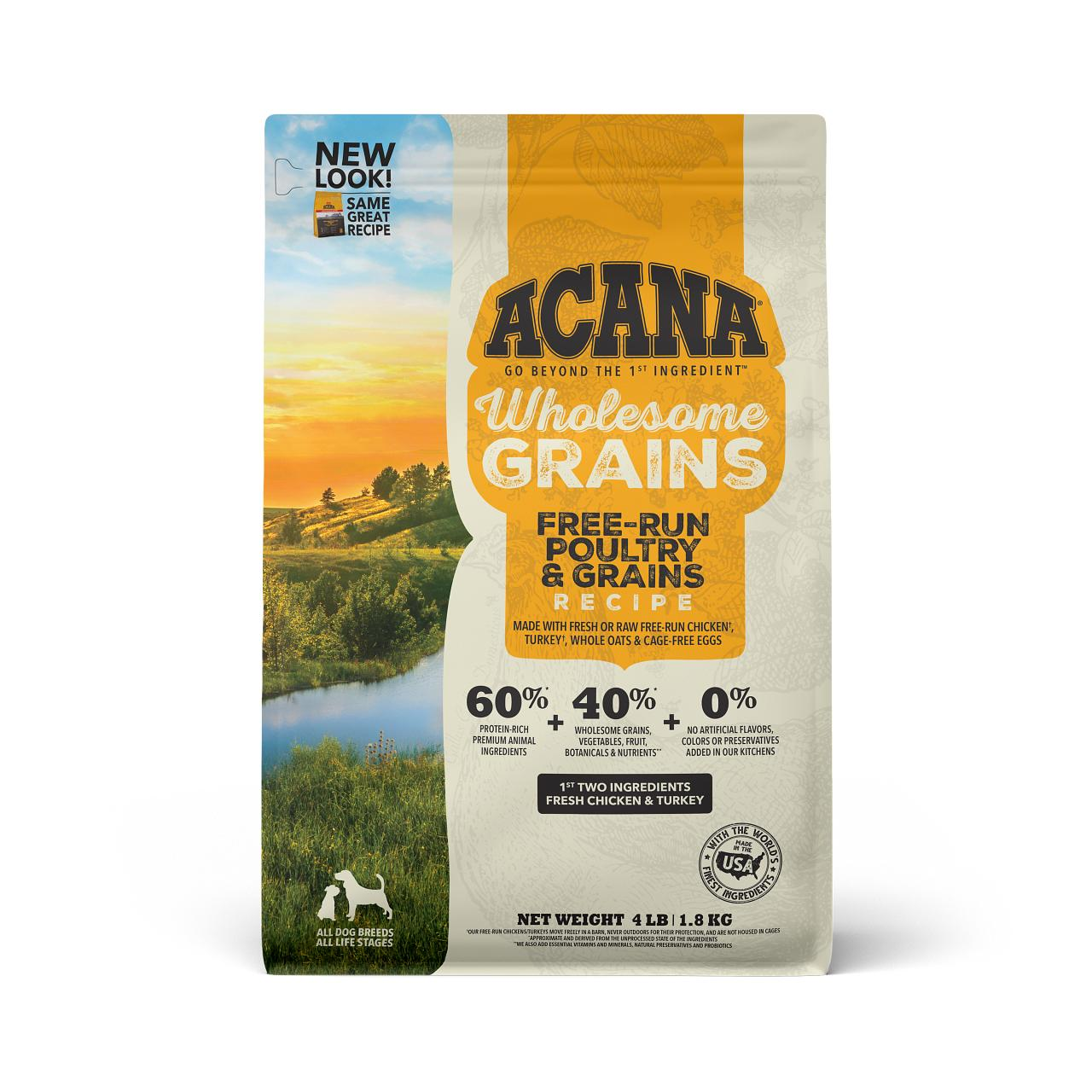 ACANA Wholesome Grains Free-Run Poultry & Grains Dry Dog Food, 4-lb