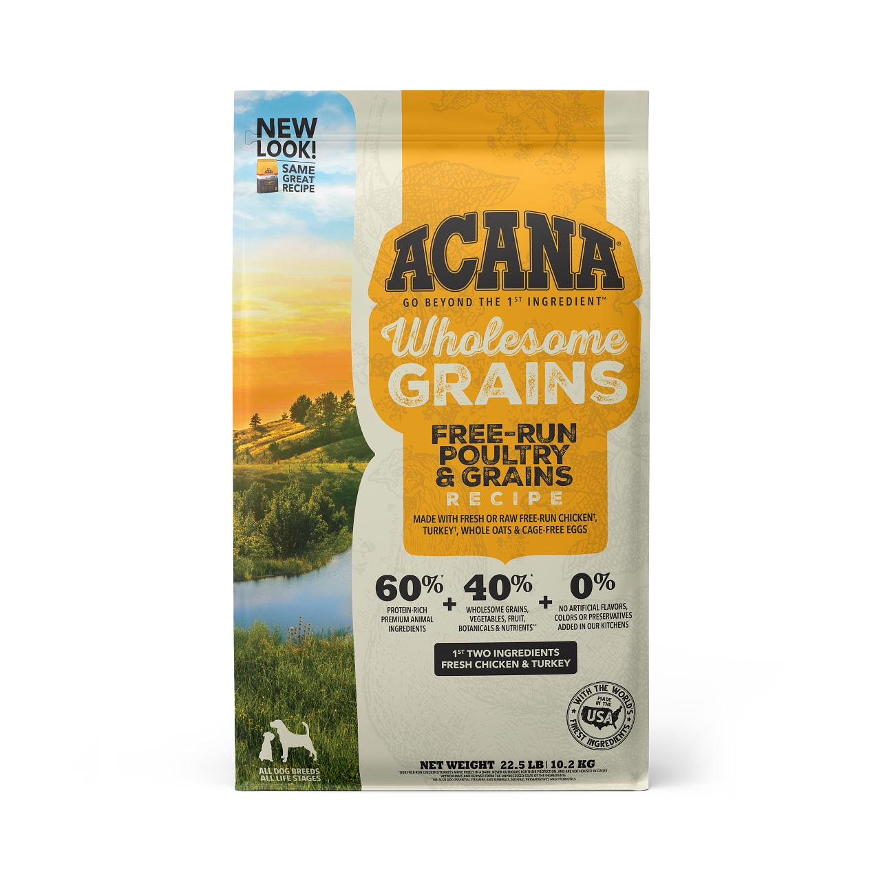 ACANA Wholesome Grains Free-Run Poultry & Grains Dry Dog Food, 22.5-lb