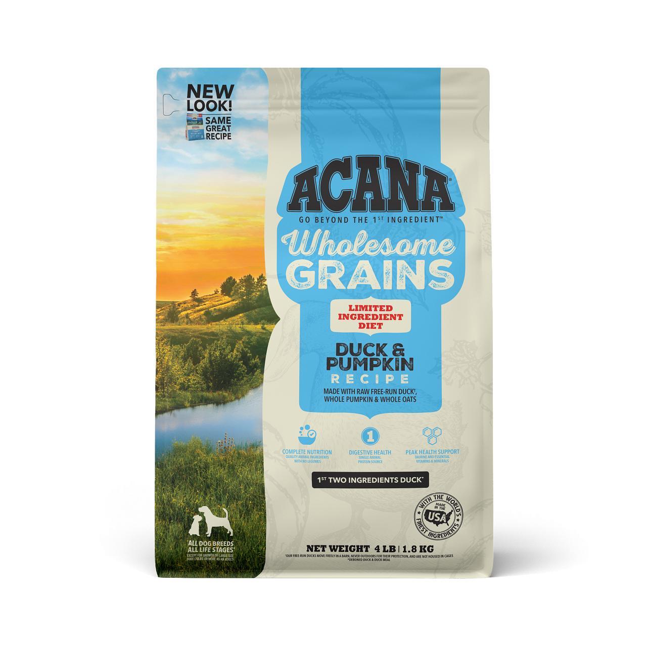 ACANA Wholesome Grains Duck & Pumpkin Dry Dog Food, 4-lb