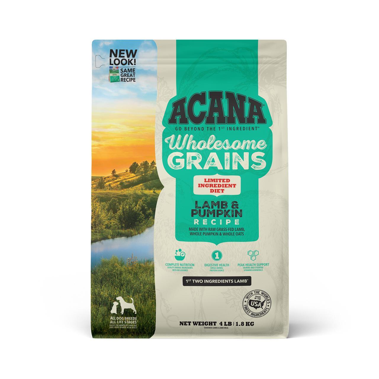 ACANA Wholesome Grains Lamb & Pumpkin Dry Dog Food, 4-lb