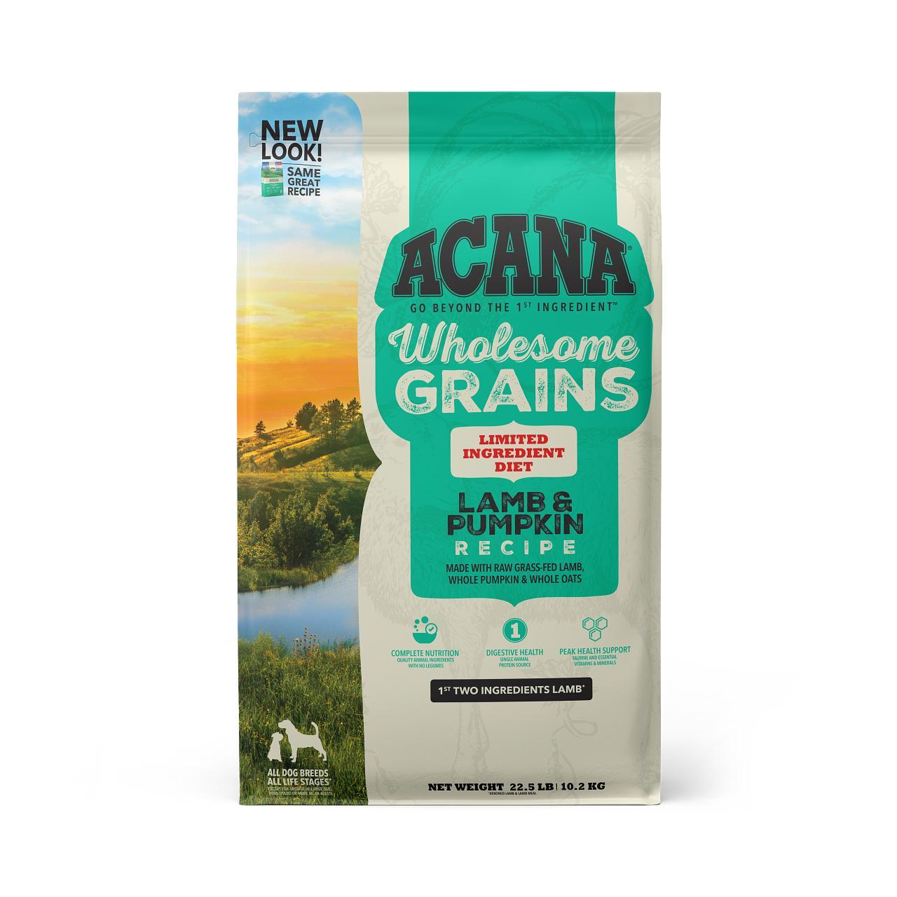 ACANA Wholesome Grains Lamb & Pumpkin Dry Dog Food, 22.5-lb