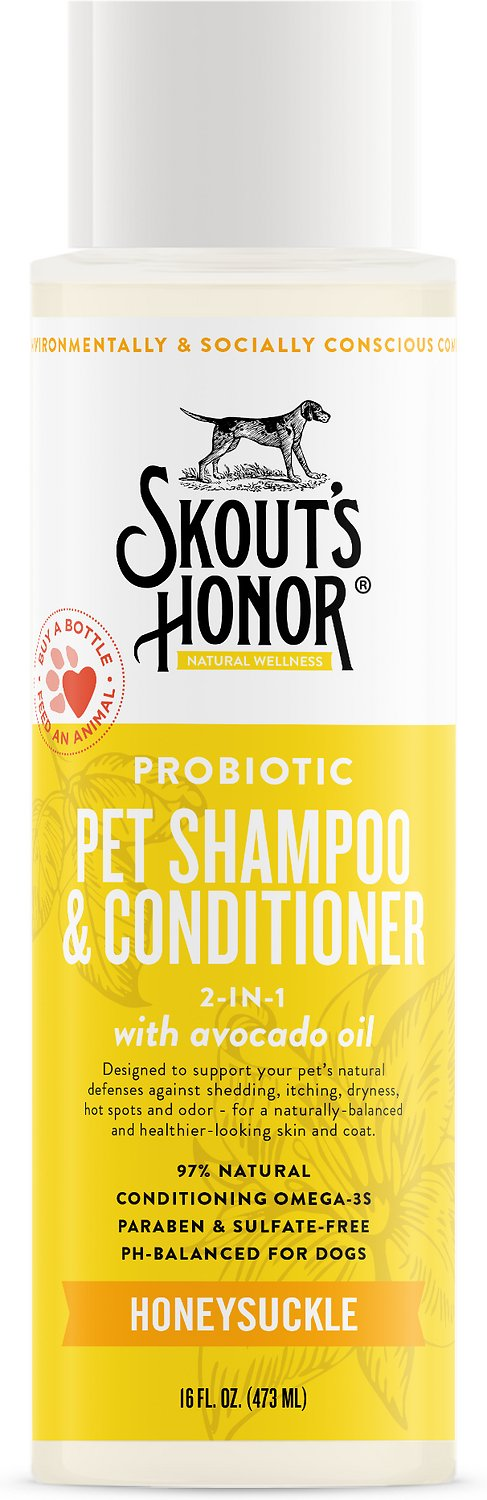 Skout's Honor Probiotic Honeysuckle Pet Shampoo & Conditioner, 16-oz bottle
