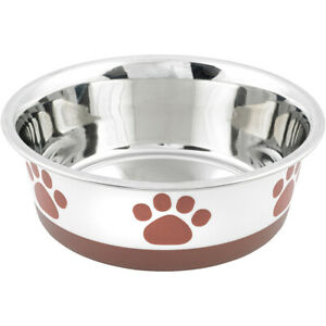Buddy's Line Non-Skid Bonded Stainless Steel Bowl, Brown Print