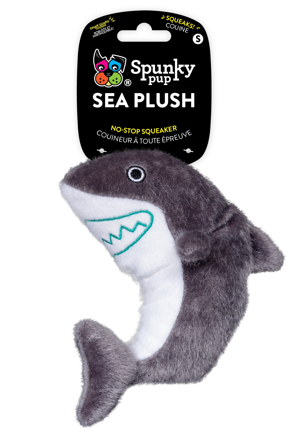 Spunky Pup Sea Plush Shark Dog Toy, Small