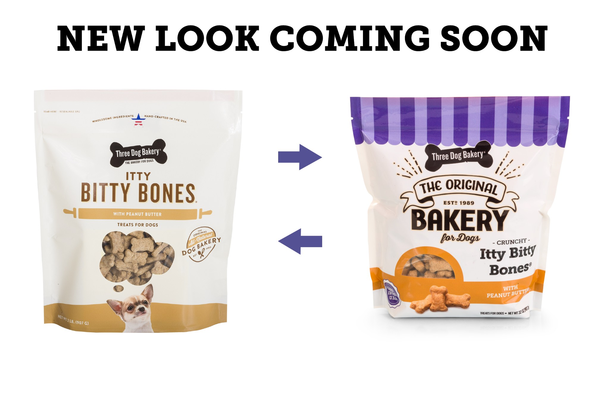 Three Dog Bakery Itty Bitty Bones Peanut Butter Dog Treats, 32-oz