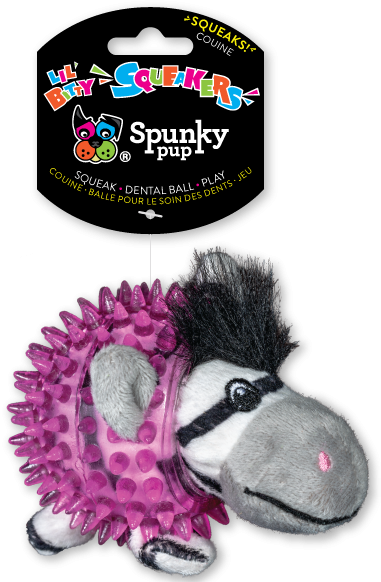 Spunky Pup Lil' Bitty Squeakers Zebra Dog Toy Image